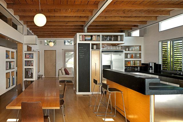 Conception de cuisine moderne avec béton ciré.