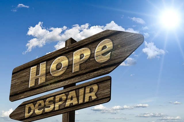 Espoir et désespoir inscrits en anglais (hope, despair) sur des panneaux en bois.