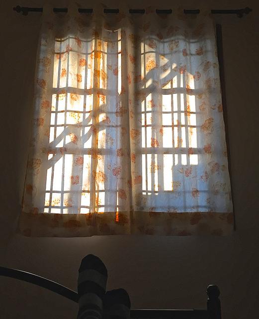 Fenêtre sécurisée avec des grilles de défense.